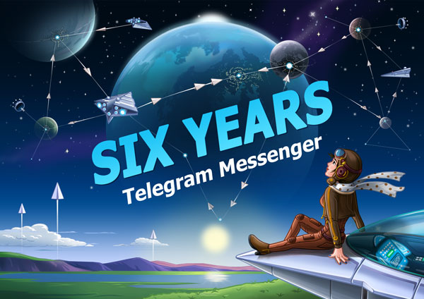 A poster celebrating 6 years of Telegram