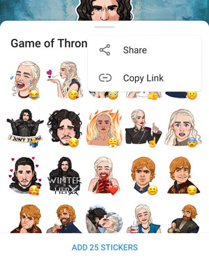Sticker pack viewer with the new sharing buttons